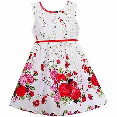 Girls Dress Red Flower Print Cotton Dresses Party Birthday Kids Clothes Size 4