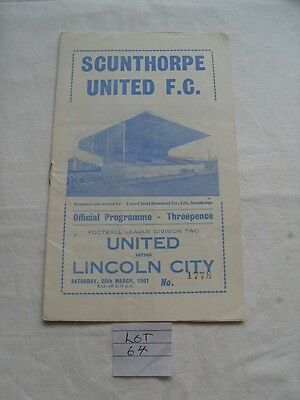1961-Scunthorpe United-Utd V Lincoln City Football League Division Two Programme