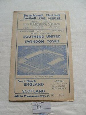 Southend United V Swindon Town 1960