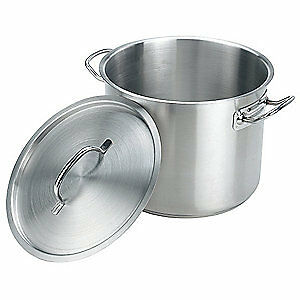 CRESTWARE Stainless Steel Stock Pot w/Cover,12 qt,12-1/2 In.,SS, SSPOT12