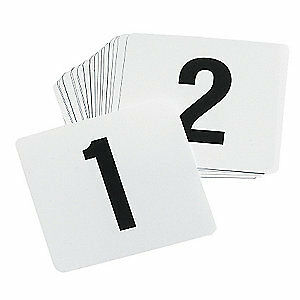 TABLECRAFT PRODUCTS COMPAN Number Card Set, 1-50,Plastic,White,PK50, TN50, White