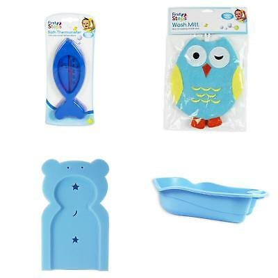 Blue Baby Newborn Bath Bathtime Support Wash Mitt Thermometer 4 Piece Set
