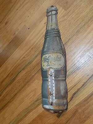"""NuGrape Soda Thermometer Metal Sign 17"""" tall Vintage Thermometer works"""