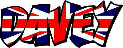 2x UNION JACK FLAG NAME DECALS / STICKERS - YOUR TEXT