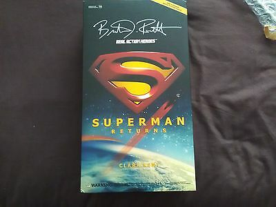 brandon routh signed superman figure clark kent photo proof