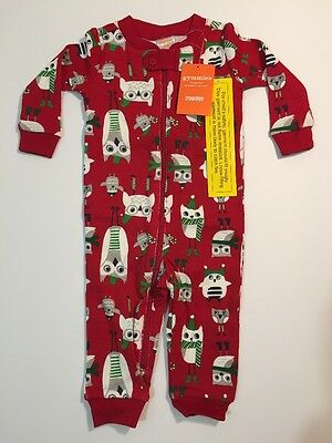 Boys Size 3-6 Months Gymboree Gymmies Pajamas One Piece Holiday Owls Red