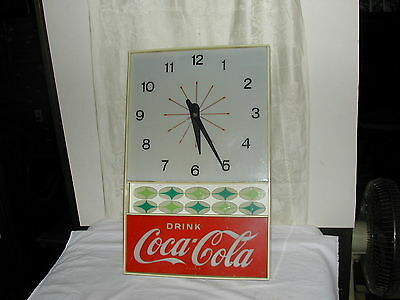 Original 1960's Coca Cola Advertising Light Up Clock Sign