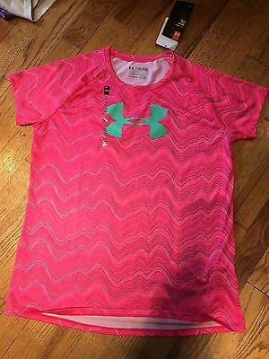 Under Armour Girls Pink/Grey Striped Top Size XL NWT Short Sleeve