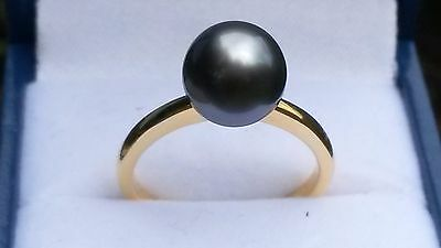 Natural Tahitian black pearl ring in 14k gold over silver size N