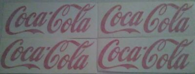 "Lot of 4 Coca Cola Decal  Red  4.5"" x 1.5"""