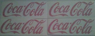 "Lot of 4 Coca Cola Decal  Red,White and Black Color  4.5"" x 1.5"" "" Made in USA"""