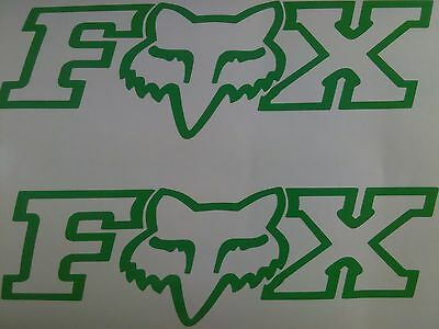 "Set of 2 Fox Vinyl Decals size 7.5"" x 2"" Color Neon Green"