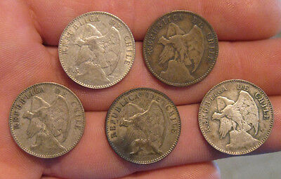 Chile - (5) Early 20th Century Silver Coins