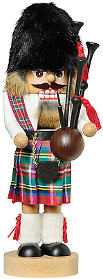 KWO Christmas Nutcracker SCOTSMAN with Bagpipes WOOD German
