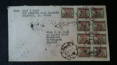 China Stamps - Old Cover From Shanghai To England Stamps Front And Rear