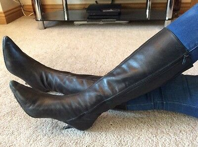 Next Black Knee High Leather Boots Size 7 Euro 40