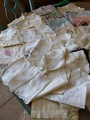 Large Lot of 80+ Vintage Handkerchiefs Hankies Embroidery Floral  etc. Free ship