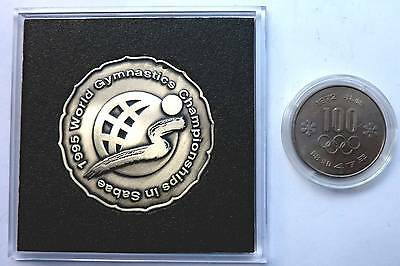 100 Yen + Original Teilnehmer-Medaille der XXXI.Turn WM 1995 in Sabae - Japan