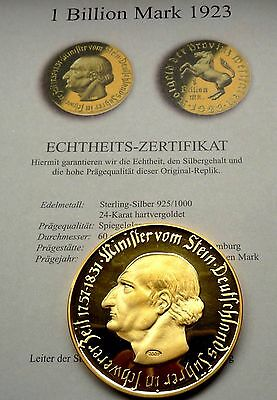 1 Billion Mark Provinz Westfalen 1923 Minister vom Stein 100 Gramm Gold & Silber