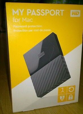 WD 1TB My Passport Portable Hard Drive For Mac - Auto Backup Password Protection