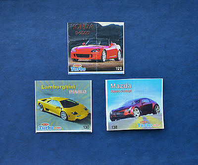 Rare set of 3 vintage Turbo 2007 Super bubble (chewing) gum wrappers (inserts)