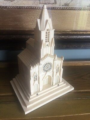 Vintage Raylite Musical Light up church music box plays Silent Night Need Rewire