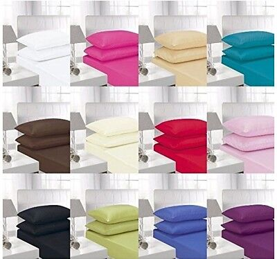 Plain Dyed 100% Egyptian Cotton Fitted Sheets 200 Tc Bedding Linens Pillowcases