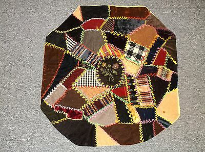 Antique 19th Century Patchwork Velvet Front Silk Back Flowers Crazy Quilt Pillow