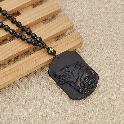 Hand Carved Wolf Head Lucky Pendant Necklace Chinese Natural Stone Fine Jewelry