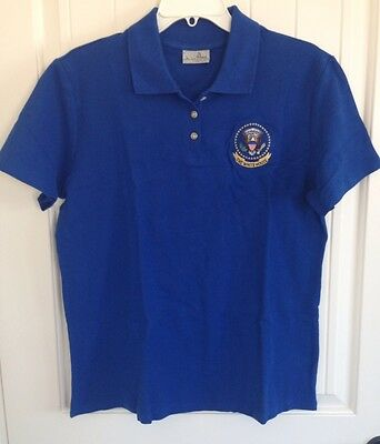 AUTHENTIC The WHITE HOUSE PRESIDENTIAL SEAL  Ladies Polo Royal Blue Size: L