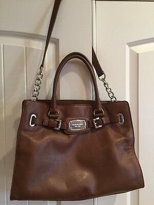 Michael Kors Brown leather HAMILTON tote w/ chain shoulder strap