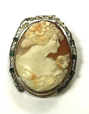 Antique 14K Solid White Gold Filigree Cameo With Emerald Gemstones