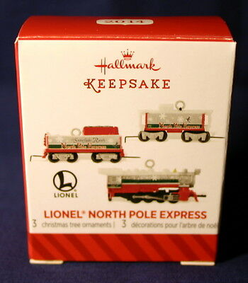 Hallmark Miniature Ornament 2014 Lionel North Pole Express Train 3 Piece Set
