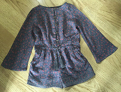 Next Girls Charcoal & Pink Floral Design Playsuit Age 3 Years