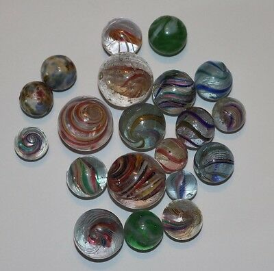 Lot of 20 Vintage Handmade Marbles Pontil Transitional NM to Mint +