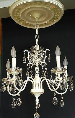 Vintage French White Crystal Chandelier Shabby Cottage Chic 5 Light Ceiling Old
