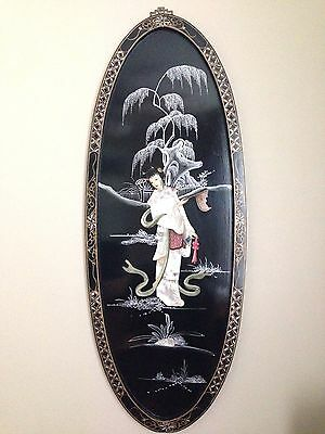 Vintage Black Laquer Chinese Painting Mother of Pearl Inlay Maiden Courtesan