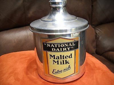 Vintage National Dairy Malted Milk Extra Rich Container w/ Lid