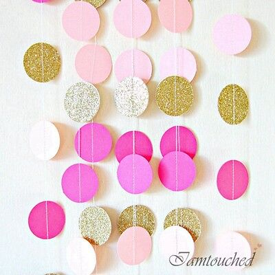 2M Circle Paper Garland String Bunting  Wedding Party Baby Shower Hanging Decor