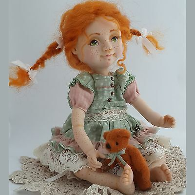 OOAK handmade ginger artist doll, 10 ¼in.