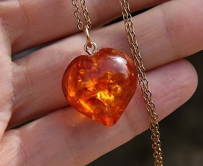 Vintage Real Amber Heart Pendant with Gold Coloured Chain