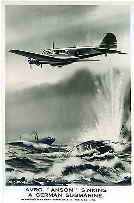 Avro Anson Sinking A German Submarine - Old Real Photo Postcard View