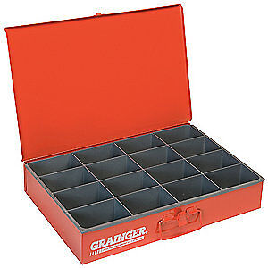 DURHAM Steel Compartment Box,12 In D,18 In W,3 In H, 113-17-S1158, Red
