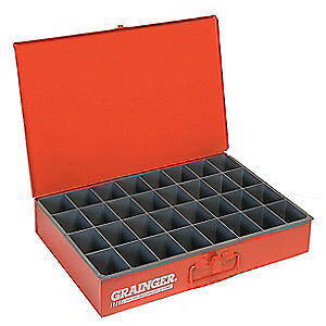 DURHAM Steel Compartment Box,12 In D,18 In W,3 In H, 107-17-S1158, Red