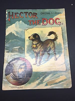 Hector The Dog Saint Bernard Antique Children's Book 1889 Color Illustrations