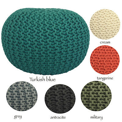 Large Knitted Pouf, Foot Stool, Indian Cushion Pouffe, Handmade