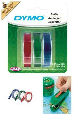 DYMO Embossing Tape Red Green Blue 3/8-Inch Self Adhesive Label Glossy Refill