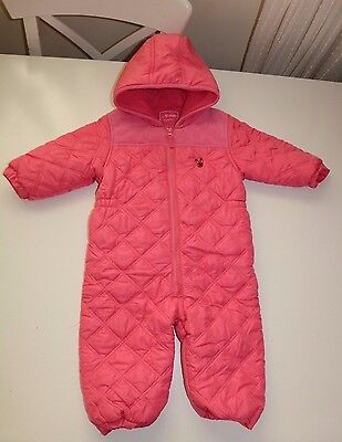 Next- Pink Soft Thick Lightweight Hooded Zip Snowsuit- Baby Girl - 12-18 Months