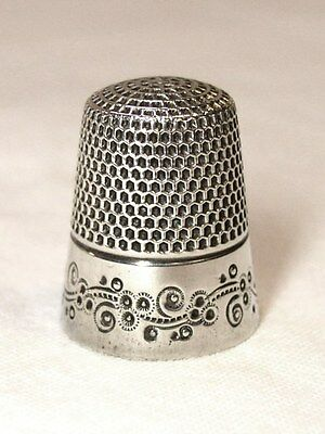Antique Ketcham & McDougall Sterling Silver Thimble Abstract Flowers & Vine