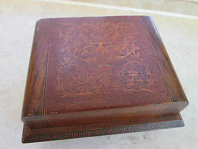 Vintage Marquetry Inlaid Wooden Music Cigarette Box